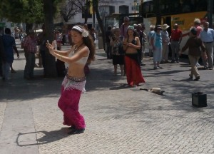 Belly Dancing Buskers remind us of Lisbon's Arabic past
